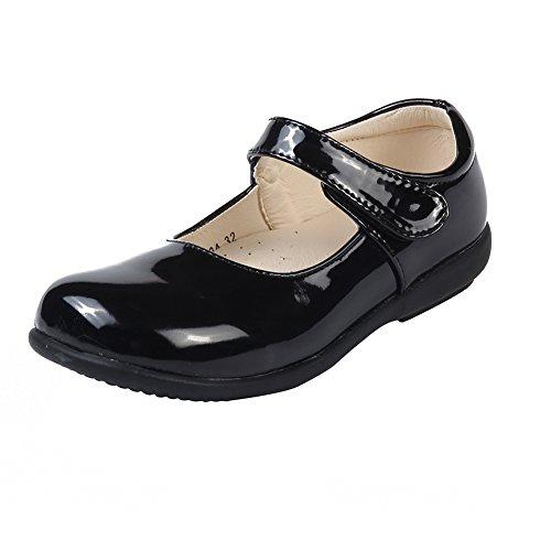 MK MATT KEELY Girls' Leisure Flat School Uniform Leather Shoes Mary Jane Princess Shoes Black 2.5 M US Little Kid