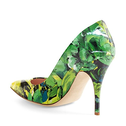 Floral Toe Shoes Classic Patent Stilettos Mid Pumps Heel Slip Comfort Women's Green Pointed on ZOw6EEpq