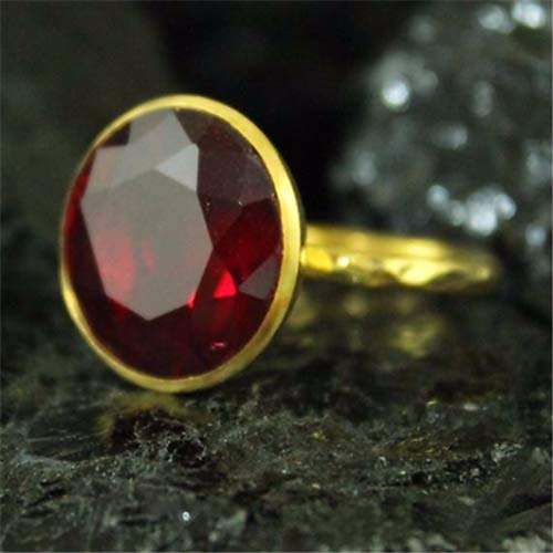 Ancient Design Handmade Hammered Designer Nice Cut Ruby Ring 22K Gold Over Sterling Silver ()