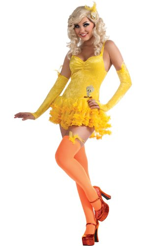 Secret Wishes Looney Tunes Sexy Tweety Costume Dress, Yellow, -