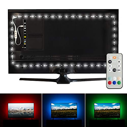 Luminoodle Professional Bias Lighting for HDTV | 6500K True White + 15 Color LED TV Backlight with Remote | USB Lights Strip Kit for Home Theater Ambient Lighting - Pro - Large (30