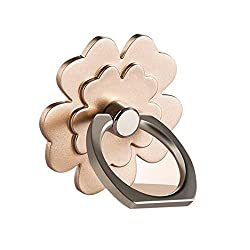 Phone Ring Stand Holder, [Gold Flower] 360 Degree Rotation Phone Grip Kickstand For Universal Smartphones Cell Phone