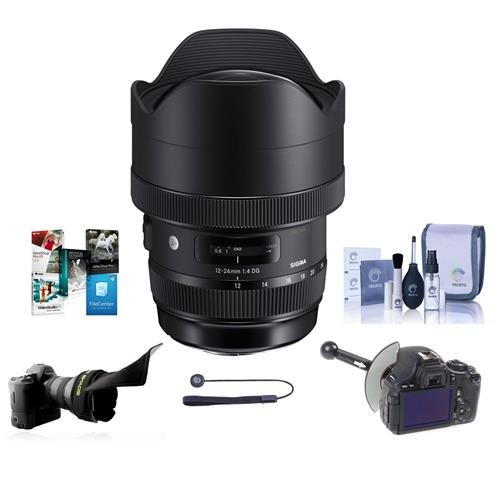 Sigma 12-24mm f/4 DG HSM ART Super Wide-Angle Zoom Lens, for Canon EOS Cameras - Bundle with Flex Lens Shade, FocusShifter DSLR Follow Focus, Cleaning Kit, Capleash, Software Package (Zoom Lens Package)