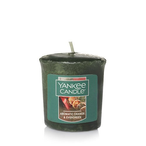 Yankee Candle Holiday AROMATIC ORANGE & EVERGREEN Sampler Votive Candles 1.75 oz Each - Evergreen Votive Candle