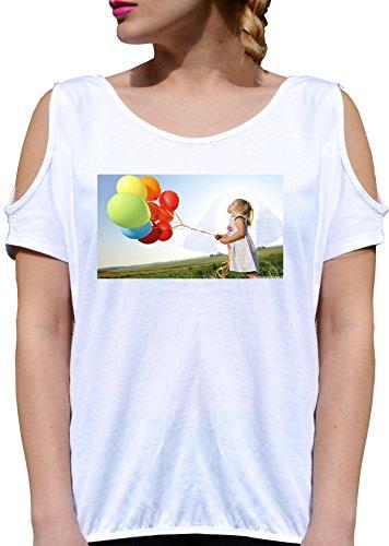 T SHIRT JODE GIRL GGG27 Z1923 CHILD BALOONS SPRING SUN PEACE FUN FASHION COOL BIANCA - WHITE XL