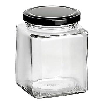 Set di barattoli Quadrati con Chiusura a Vite gouveo incl 50 ml Conserve Libretto di Ricette da 28 Pagine Conserve salumi per marmellate
