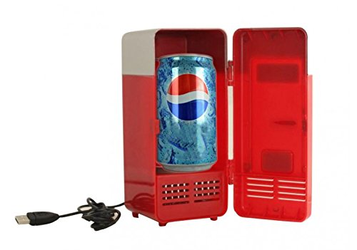 Joykit Mini USB Fridge Cooler Beverage Drink Cans Cooler/Warmer Refrigerator Laptop PC (Red)