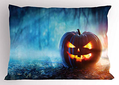Ustcyla Halloween Pillow Sham, Creepy Alone Halloween Pumpkin Mystic Forest at Night, Decorative Standard Queen Size Printed Pillowcase, 30 X 20 Inches, Burnt Orange Burnt Sienna and Sky -
