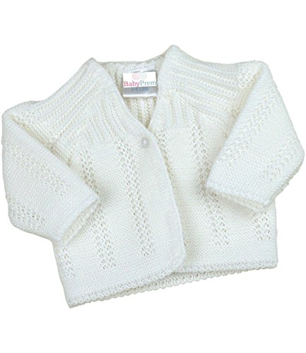 - BabyPrem Preemie Baby Cardigan Jacket Boy Girl Buttons Soft Knitted 5-8lb WHITE