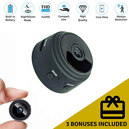 [2018 Update]PaPo Mini Hidden Spy/Nanny WiFi Camera HD 1080P – Small Home Security Monitoring Live-Stream with Auto Night Vision/Motion Detection for iPhone/Android + Free USB Reader and Mounting Kit