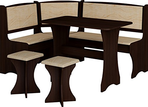 - MEBLE FURNITURE & RUGS Breakfast Kitchen Nook Table Set, L-Shaped Storage Bench with 2 Stools, Vange Color