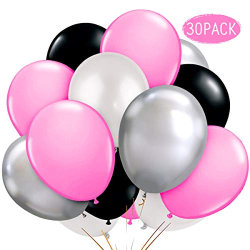 JOYMEMO Pink and Silver Balloons Metallic Latex Balloons Decorations Girl's Birthday Party Wedding Party Bridal Shower - Pink Silver Black White