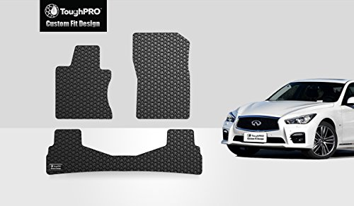 ToughPRO Floor Mats Set (Front Row + 2nd Row) Compatible with Infiniti Q50 - All Weather - Heavy Duty - (Made in USA) - Black Rubber - 2014, 2015, 2016, 2017, 2018, 2019