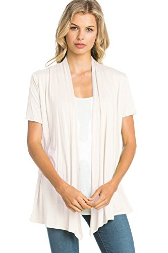 12 Ami Basic Solid Short Sleeve Open Front Cardigan Ivory Medium