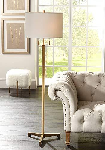 Encino Modern Tripod Floor Lamp Antique Brass Metal Fabric Drum Shade for Living Room Reading Bedroom Office - Possini Euro Design