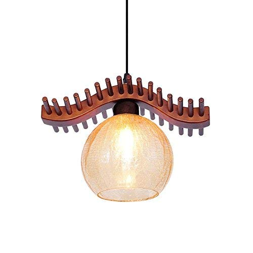 Asian Pendant Teardrop - ZLHW Zen Retro Solid Wood Chandelier Japanese Southeast Asian Style Glass Lampshade Ceiling Pendant Light for Tea Room Dining Room Kitchen Restaurant