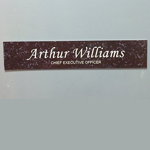 Nameplates Marble Desk (Office Nameplate Desktop or Wall Mount Custom Engraved Sign Select Your Size and Color - Cranberry Marble / White Letters - 1.5