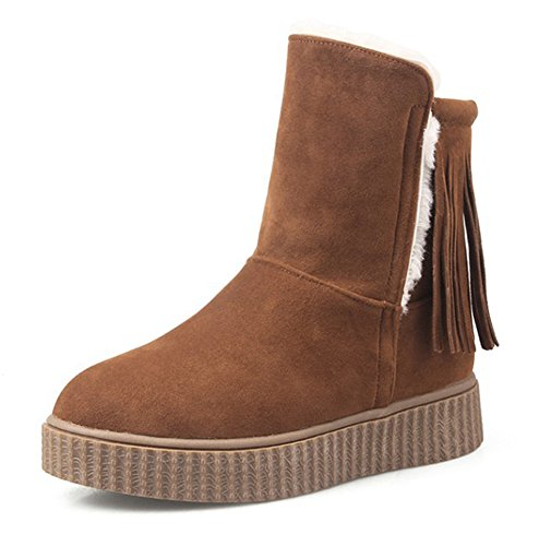 Aisun Womens Fashion Warm Fringed Round Toe Platform High Top Slip On Flat Winter Snow Booties Brown EkknhW