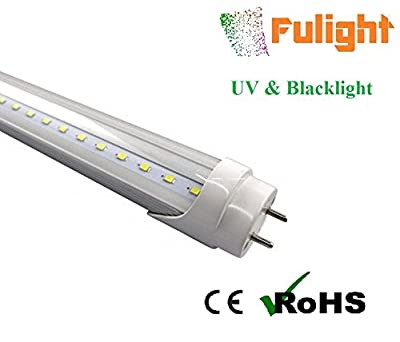"Fulight UV & Blacklight T8 LED Tube Light (Clear) - 3FT 36"" 14W, UV 390-395nm, F25T8, F30T12/BL, Double-End Powered, 85-265VAC - Fluorescent Replacement Bulbs"