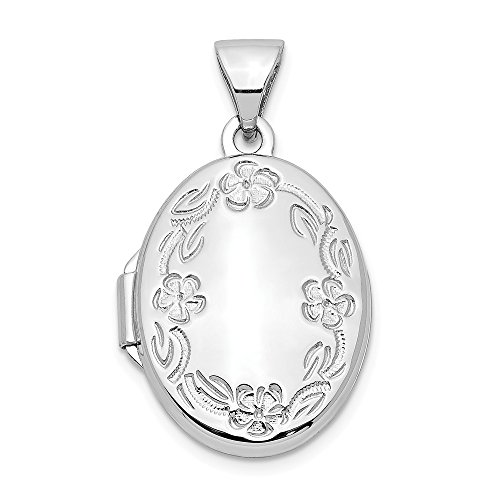 Nina's Jewelry Box 14k White Gold 17mm Oval Leaf Floral Hand Engraved Locket - White 14k Pendant Gold Oval Locket