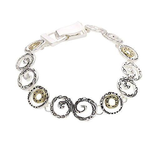 Circle Link Magnetic Clasp Bracelet - Rosemarie Collections Women's Decorative Spiral Circle Magnetic Clasp Charm Bracelet