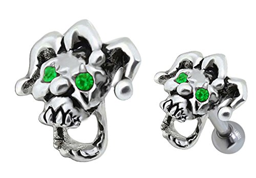 Movable Mouth Jester Skull clown skeleton Tragus or Helix Cartilage earring barbell piercing bar body jewelry Ring 16g, 16 gauge (Jester Skeleton)