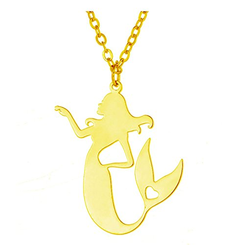 Woman's Necklace Fairytale Mermaid Stainless Steel Pendant (Gold (Gold Fairy Necklace)