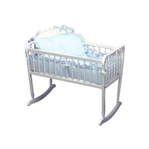 (Baby Doll Bedding Pretty Pique Cradle Set, Blue)