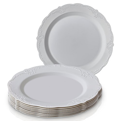 DISPOSABLE DINNERWARE SET, 20 Dinner Plates (Vintage - Grey , 10.25