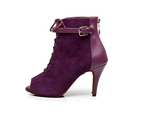 Minishion Qj6179 Scarpe Da Ballo Latino Da Donna Scamosciate Stringate In Pelle Scamosciata Viola