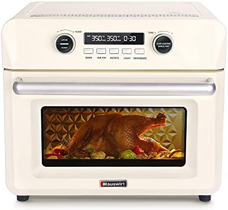 Hauswirt 26Qt Digital Air Fryer Toaster Oven Combo, 10-IN-1 Convection Oven With Separate Upper and Lower Heat Control For Air Fry, Bake, Dehydrate, Ferment, Roast, Rotisserie - Retro Cream White