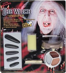 [Witch Halloween Makeup Kit Costume Teeth Black Nails] (Fun Cheap Easy Halloween Costumes)