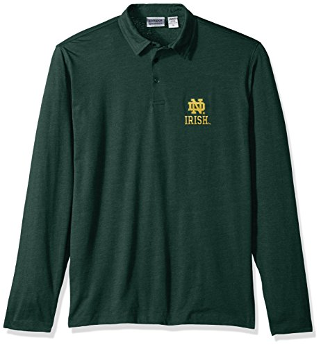NCAA Notre Dame Fighting Irish Men's Campus Specialties Long Sleeve Polo Shirt, Heather Green, ()