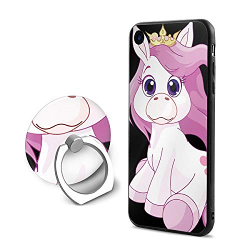 SJDEI5W Horse Princess iPhone 7/8 Case + Finger Ring Stand 360 Rotation Cell Phone Ring Stand Holder Grip Kickstand Universal Mobile Phone Ring