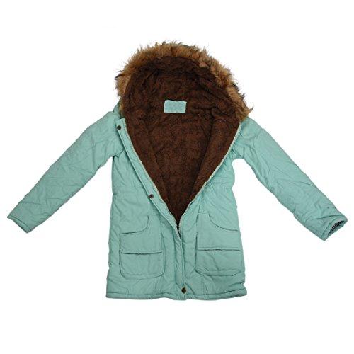 TOOGOO (R)Mujer Abrigo largo de acolchado grueso de invierno de piel encapuchado Ropa exterior Chaqueta -Verde de haba-M