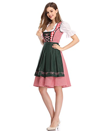 Photo Clearlove Women Bavarian Dirndl Plus Size Dress 3-Pieces with Apron and Blouse Red Plaid 2XL