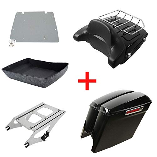 XFMT Chopped Tour Pak Pack Trunk Rack Backrest Luggage Rack Saddlebags Compatible with Harley Davidson Touring Street Glide 2014-2018 CVO Road King FLHRSE6 2014 (2014 Harley Davidson Street Glide Tour Pack)