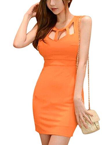 sourcingmap® Damen Kleid Orange Orange