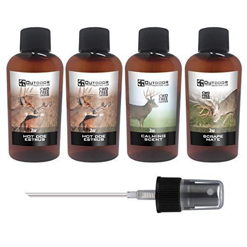 Outdoor Hunting Labs Calm Deer Attractant Scent - 100% Natural Liquid Scent Lure - Deer Urine Buck Attractants for Hunting (4 Bottle Mix) by Outdoor Hunting Lab