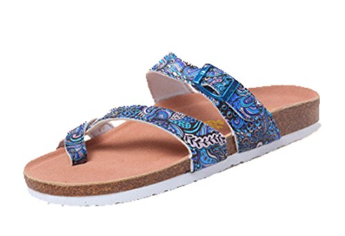 Seaoeey Girls Beach Vacation Folder Toe Sandals Cork Slippers Special Blue 7M