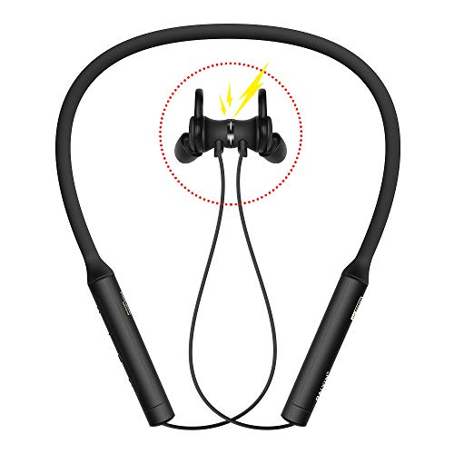 - ANC Bluetooth Headphones Neckband Magnetic Ralyin Active Noise Cancelling Wireless Headset, Superior Deep Bass HD in Ear Around Neck Earbuds with Mic for PC TV Gym Running Jogging Sport Earphones