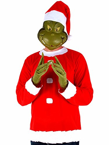 Dr. Seuss Grinch Santa Costume includes Shirt, Mask, Gloves and Hat, (The Grinch Halloween Costumes)