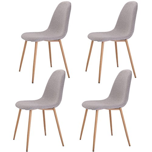 Giantex Set of 4 Modern Dining Accent Side Chairs Wood Legs Home Furniture (Modern Dining Room Furniture Sets)