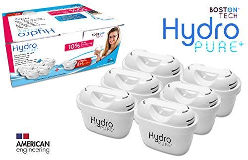 Boston Tech 6 Cartuchos Hydro Pure+, filtros de Agua compatibles con Jarras Brita Maxtra y Maxtra+, Efecto Prolongado (12 Meses, 6 x 60 dias Cada Filtro) reducen la Cal y el Cloro. Gran Sabor