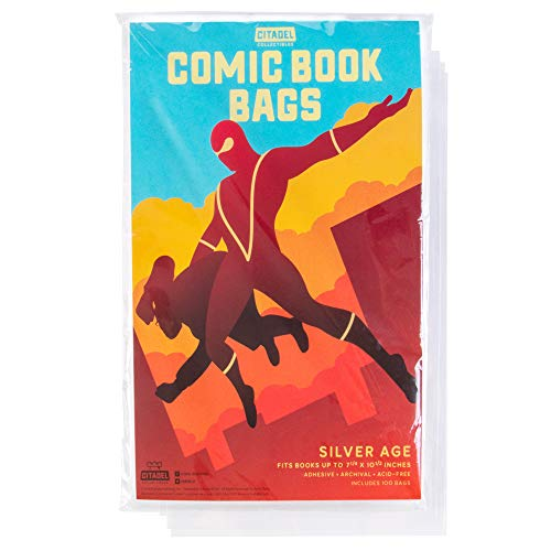 Comic Book Cover Sleeves 100 Protective Bags | Fits Books Up to 7 5/8