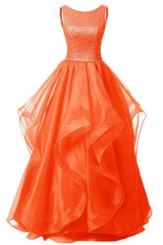 DRESSTELLS Long Prom Dress Asymmetric Ball Gown Evening Gown Beads Organza Gown Orange Size14