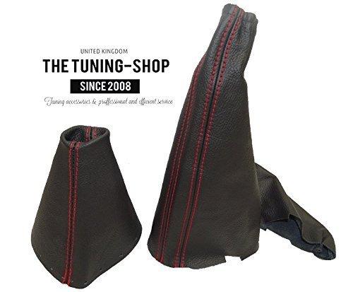 Gear Handbrake Gaiter Automatic Black Leather Red Stitching