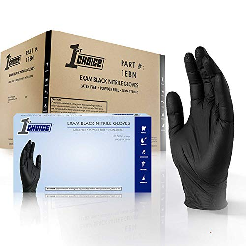 1ST CHOICE Exam Black Nitrile Gloves - Latex Free, Powder Free, Non-Sterile, Small, Case of 1000