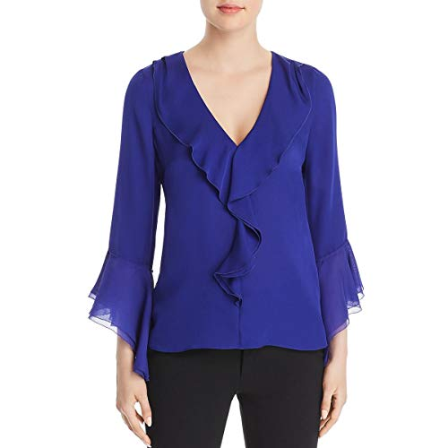 Elie Tahari Womens Julianna Silk Ruffled Blouse Purple S - Elie Tahari Women Shirts