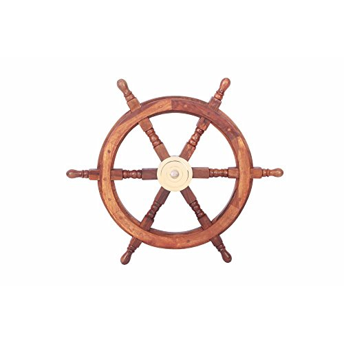 The Urban Port Finely Designed Teak Wood and Brass Ship Wheel, 24
